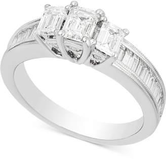 Macy's Diamond Three-Stone Engagement Ring (1-1/2 ct. t.w.) in 14k White Gold