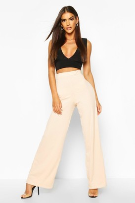 boohoo Jumbo Rib High Waist Wide Leg Trouser