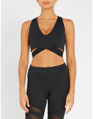Good American Lace stretch-jersey sports bra