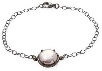 Adornia Fine Jewelry 12.7MM Slice Freshwater Pearl, Champagne Diamond and Silver Bracelet