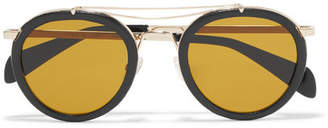 Rag & Bone Nomad Round-frame Textured-leather And Gold-tone Sunglasses