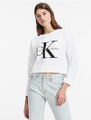 Calvin KleinCalvin Klein Womens Logo Cropped Sweatshirt
