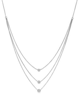 Bloomingdale's Diamond Three Station Bezel Necklace in 14K White Gold, .50 ct. t.w. - 100% Exclusive