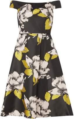 Adrianna Papell Off Shoulder Floral Jacquard Dress