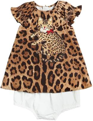 Dolce & Gabbana Cat Cotton Poplin Dress & Diaper Cover