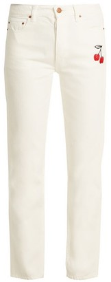 Bliss And Mischief - Cherry Embroidered High Rise Straight Leg Jeans - Womens - Ivory