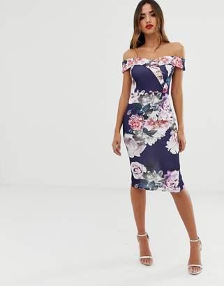 Lipsy bardot midi dress in floral print in navy