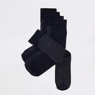 River Island Navy multiprint socks multipack