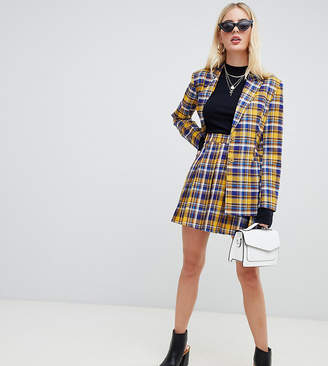 UNIQUE21 pleated mini skirt in contrast check co-ord