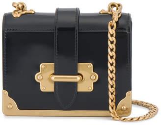 Prada Black cahier Micro Patent Leather box bag
