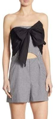Scripted Gingham Bow Front Romper