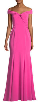 Jay Godfrey Hamilton Crepe Off-the-Shoulder Twist Gown