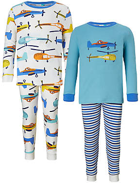 Children's Helicopter and Planes Pyjamas, Pack of 2, Multi