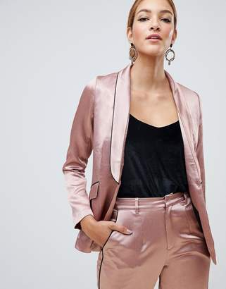 Little Mistress satin blazer with contrast piping in copper