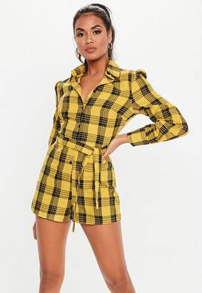 Missguided Yellow Plaid Long Sleeve Romper