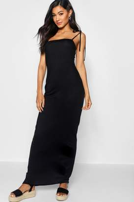 boohoo Tie Shoulder Jersey Maxi Dress