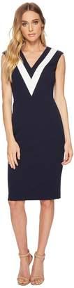 Adrianna Papell Knit Crepe Color Block Sheath Women's Dress