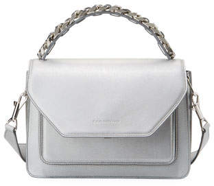 Elena Ghisellini Eclipse Medium Silver Madras Top Handle Bag
