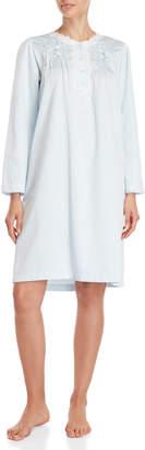 Miss Elaine Blue Brushed Back Satin Nightgown