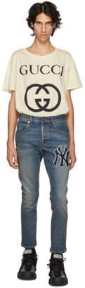 Gucci Blue NY Yankees Edition Patch Jeans