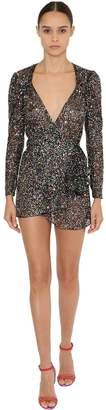 ATTICO Sheer Multi Color Sequined Dress