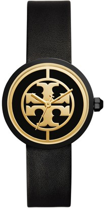 Tory Burch REVA WATCH, BLACK LEATHER/STAINLESS STEEL, 36 MM