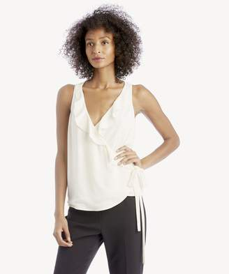 Sole Society S/L Wrap Front Ruffle V-Neck Blouse