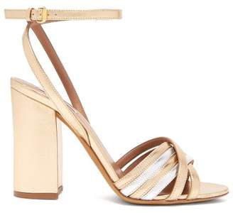 Tabitha Simmons Toni Block Heel Metallic Sandals - Womens - Silver Gold