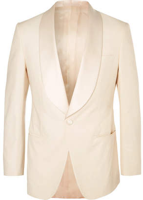 Kingsman Harry's Cream Satin-Trimmed Stretch-Cotton Tuxedo Jacket
