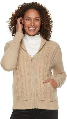 Croft & Barrow Women's Cable-Knit Zip-Front Cardigan