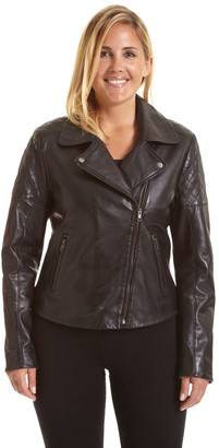 a9e1014f05d Plus Size Excelled Asymmetrical Leather Motorcycle Jacket