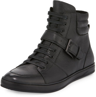 Kenneth Cole Brand Slam Leather High-Top Sneaker, Black $149 thestylecure.com