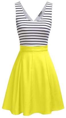 YACUN Women's Sleeveless Vintage Stripes Swing Party Dress XL