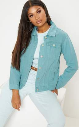 PrettyLittleThing Green Denim Jacket