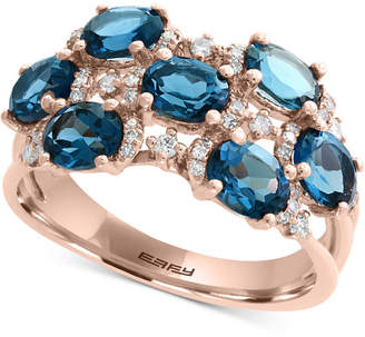 Effy London Blue Topaz (3-1/4 ct. t.w.) & Diamond (1/4 ct. t.w.) Ring in 14k Rose Gold