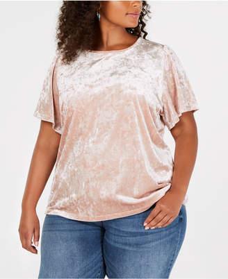 Lucky Brand Trendy Plus Size Velvet Top