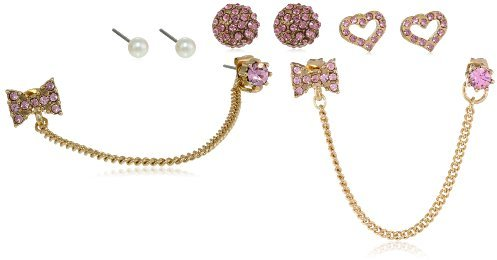 """Betsey Johnson Iconic Pinkalicious"""" Crystal Heart and Bow 5-Stud Earrings Jewelry Set"""