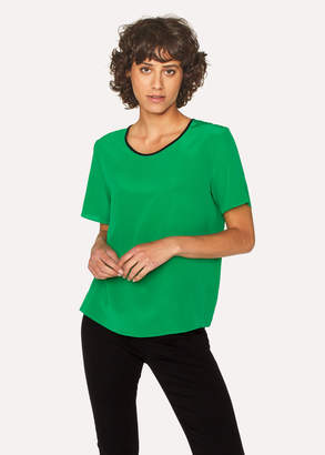 Paul Smith Women's Green Silk Top With Contrasting Trim