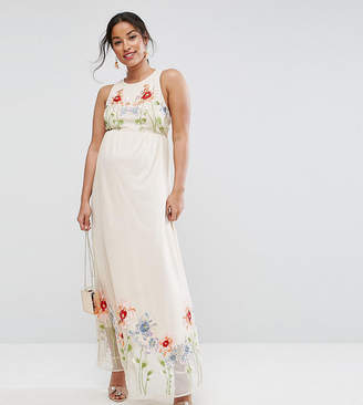 Asos TALL Embroidery Mesh Maxi Dress