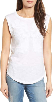 Caslon Embroidered Slub Knit Tank