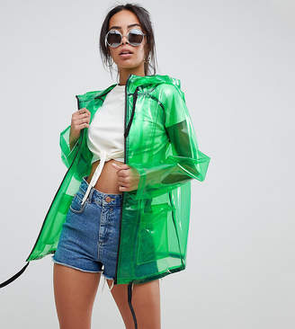Asos Tall Design Tall Rain Jacket With Contrast Binding