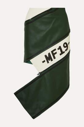 Monse Asymmetric Zip-detailed Paneled Leather Skirt - Green