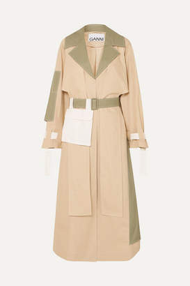 Ganni Cotton Trench Coat - Cream