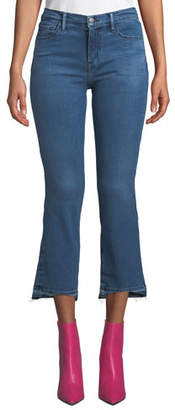 J Brand Selena Mid-Rise Cropped Boot-Cut Jeans with Released Hem