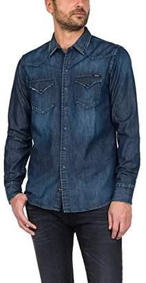 Replay Men's Jeanshemd Shirt, (Blue Denim 7), Small