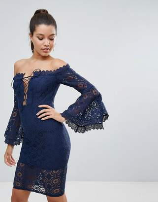Love Triangle Allover Lace Off Shoulder Pencil Dress With Lace Up Detail
