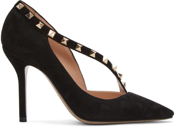 Valentino Black Valentino Garavani Suede Rockstud DOrsay Heels