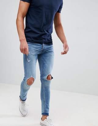 Brave Soul Skinny Faded Rip Frayed Jeans