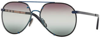 Burberry Mirrored Metal Aviator Sunglasses