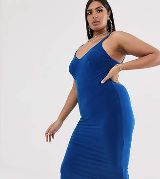 Club L London Plus soft touch midi dress with ruched open back detail in cobalt blue